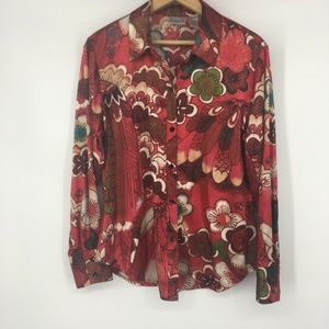 Chicos Red Silky Long Sleeve Button Up Size 1